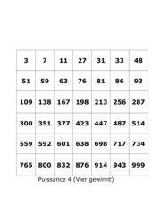 Puissance 4 (Vier gewinnt)-Zahlenspiel