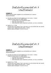 Klassenarbeit zur Lektüre Schattenkinder