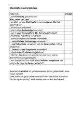 Checkliste Nacherzählung