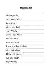 Dosendiktat Wörter mit ß und t