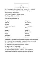 Einfacher  Lesetext zur EURO 2008