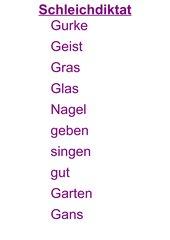 Schleichdiktat zum Laut G,g