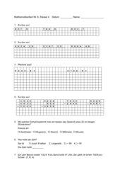 Mathe-Arbeit 4. Klasse, diverse Themen