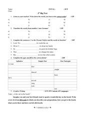 Klassenarbeit Englisch Kl. 6 inkl. Lösungen