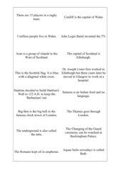 Antwortkarten Spiel Around Britain A3