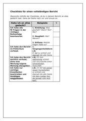 Checkliste für einen vollständigen Bericht
