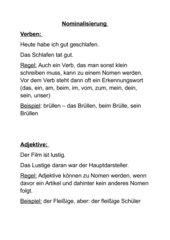 Regeln Nominalisierung Verben und Adjektive