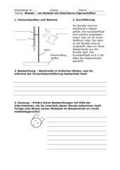 Arbeitsblatt zu Versuch: Ablenkung eines Wasserstrahls mit statisch geladenem Kunststoffstab