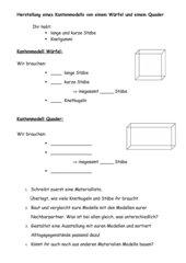 Bauen von Kantenmodellen Würfel und Quader