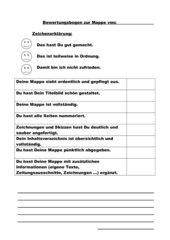 Bewertungsbogen für Schülermappen