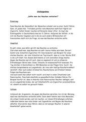beispielerrterung zum thema rauchen - Dialektische Erorterung Beispiel Klasse 9