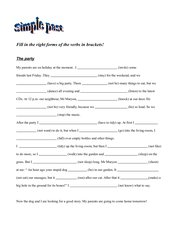 The party - Fill in the simple past forms!