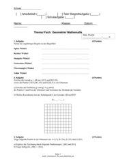 Verschiedene Aufgaben - Geometrie - RS BY - Kl. 6