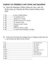 Englisch: Schulalltag und Tagesablauf