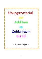 Übungsmaterial zur Addition im Zahlenraum bis 10