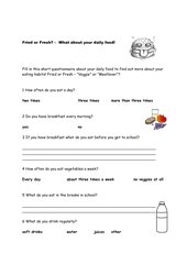 Fried or Fresh/questionnaire/Wortschatz/Indirect Speech