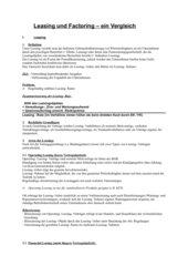 Leasing und Factoring LK/gk Wirtschaft (BWL) Bayern/Berufsschule