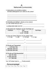 Lernkontrolle: Zahlraumerweiterung Klasse 5