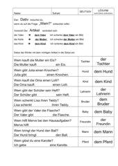 Übung: Nomen im Dativ in Wörter einsetzen