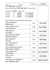 Übung: Nomen im Akkusativ in Sätze einsetzen