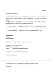 Elternbrief Klassenfahrt