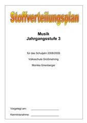 Stoffverteilungsplan Musik 3. Jahrgangsstufe Bayern