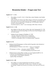 Jurek Becker: Bronsteins Kinder - Fragen zum Text