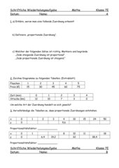 Test zu proportionalen Zuordnungen