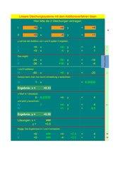 Zahlengleichungen mit zwei Variablen - Additionsverfahren.