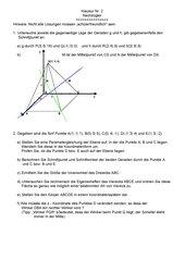 Klausur zu Geraden und Ebenen (Teil 2)