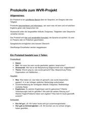 Protokoll zum (WVR) Projekt