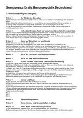 Grundrechte laut GG - Auszug