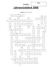 Kreuzworträtsel: Jahresrückblick 2008