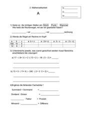 Mathematikarbeit - Fachbegriffe (Kl.5)