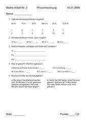 Klassenarbeit Prozentrechnung leicht