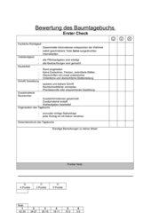 Bewertungsbogen für Baumtagebücher