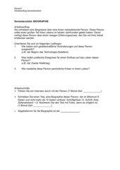 Semesterarbeit - Arbeitsauftrag - Biografie
