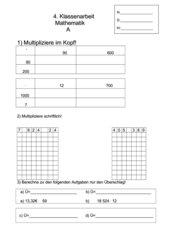 Klassenarbeit zur Schriftlichen Multiplikation