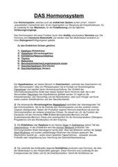 Das Hormonsystem - Infotext + Fragen