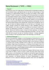 Zusammenfassung Montessori-Pädagogik incl. Vor- und Nachteile