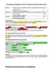 Satzglieder (Verschiebeprobe, Subjekt, Prädikat und Objekt)