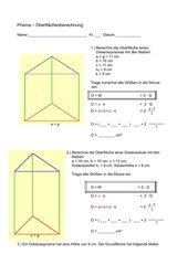 Dreiecks- und Trapezprisma - Oberflächenberechnung