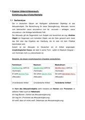 Einführung des 4.Falls/Akkusativobjekts (4.Klasse Grundschule)