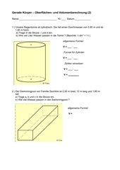 Gerade Körper - Oberflächen- und Volumenberechnungen (2)