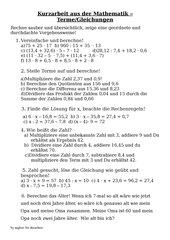 Lernzielkontrolle Terme/Gleichungen