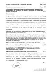 Lernkontrolle Deutsch: Satzglieder, Attribute, Kl. 8R