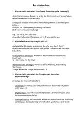 Prüfungsfragen Deutsch Rechtschreibunterricht mit Antworten
