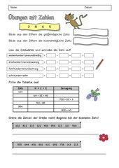 Arbeitsblatt zu Übungen mit Zahlen