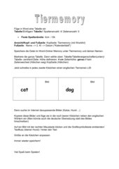 Anleitung zum erstellen eines Tier-Zuordnungsspiels (englisch)