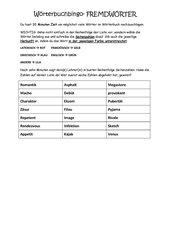 Wörterbuchbingo Fremdwörter